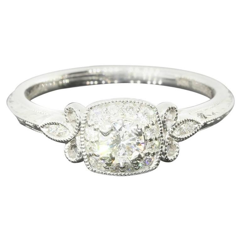 Round Diamond FleurDeLis Halo Engagement Ring at 1stdibs