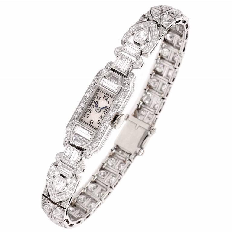 Mathey Tissot Ladies Diamond Platinum Bracelet Wristwatch 1