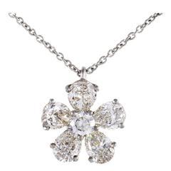 Graff Diamonds Diamond Flower Platinum Pendant Necklace