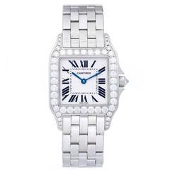 Cartier Ladies White Gold Diamond Bezel Santos Demoiselle Quartz Wristwatch
