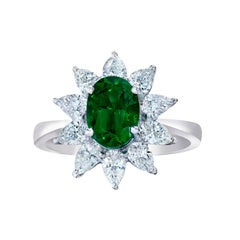 1.48 Carat Emerald Diamond Gold Flower Ring