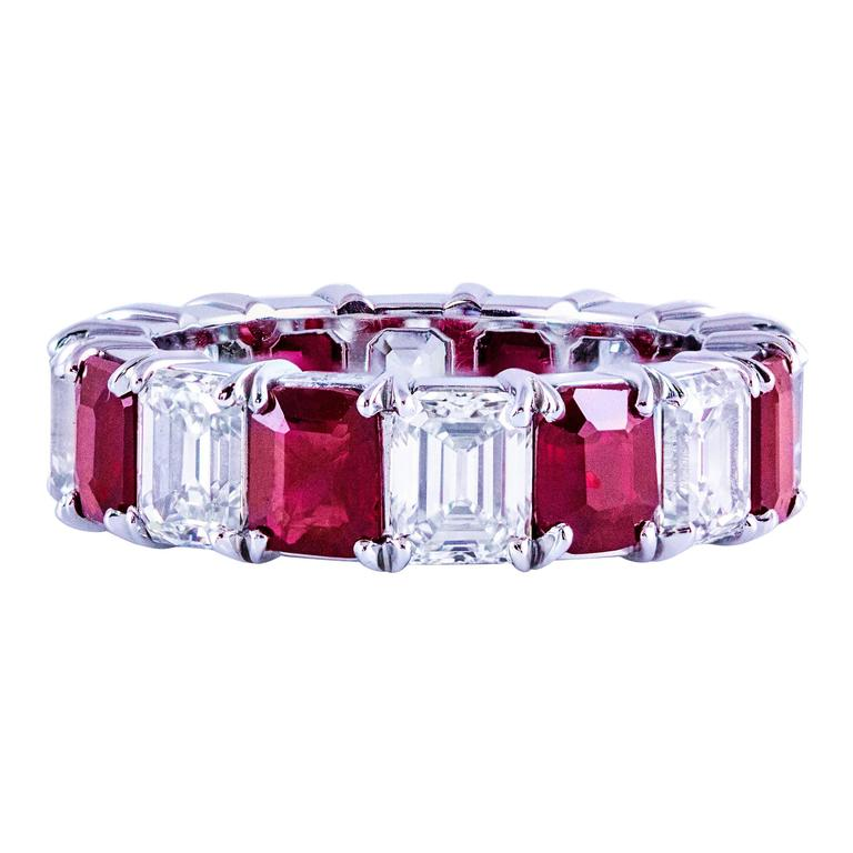 Emerald Cut Ruby Diamond Platinum Eternity Wedding Band