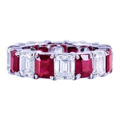 Roman Malakov Emerald Cut Ruby Diamond Platinum Eternity Wedding Band