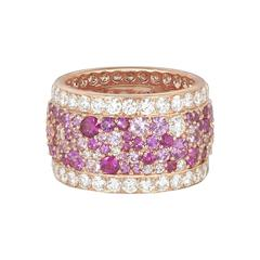 Rose Gold White Diamond and Pink Sapphire Band Ring