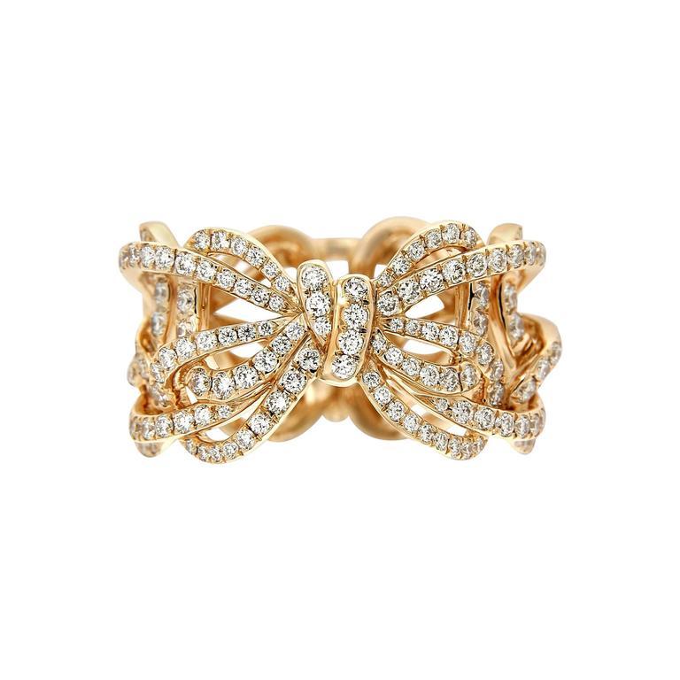 Vanleles White Diamond 18 Karat Rose Gold Bow Twisted Ring