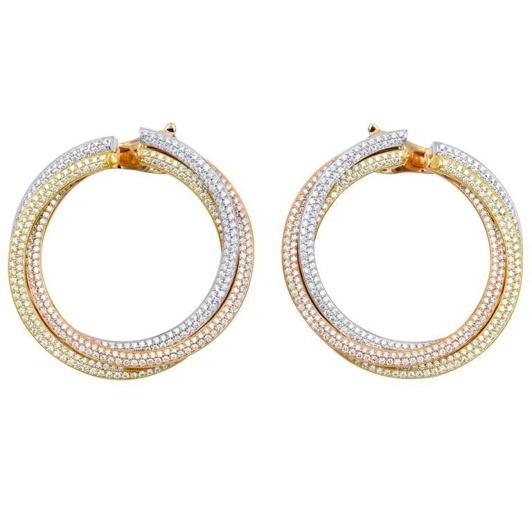 Cartier Diamond Tricolor Gold Trinity Hoop Earrings For