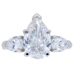 Platinum Sabet 3.21 Carat GIA Certified Pear Cut Diamond Engagement Ring