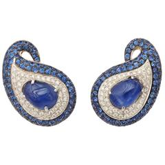 Exotic Sapphire & Diamond Paisley Earclips