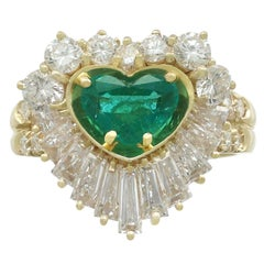 1.63 Carat Emerald and 2.31 Carat Diamond Yellow Gold Ring