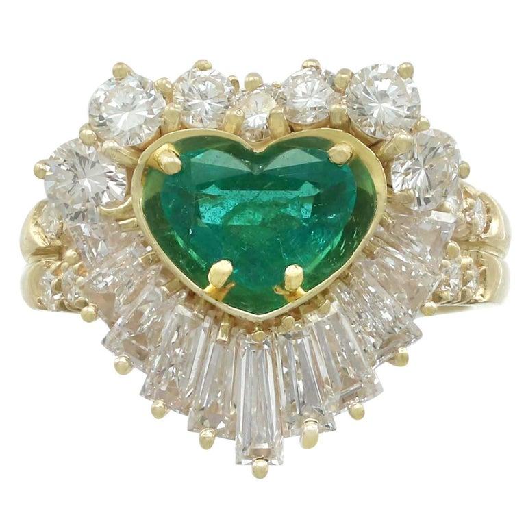 1.63 Carat Emerald and 2.31 Carat Diamond Yellow Gold Ring