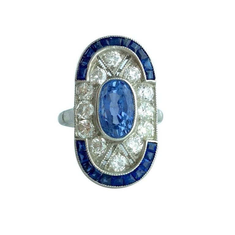 Ceylan Sapphire Diamond Platinum Ring