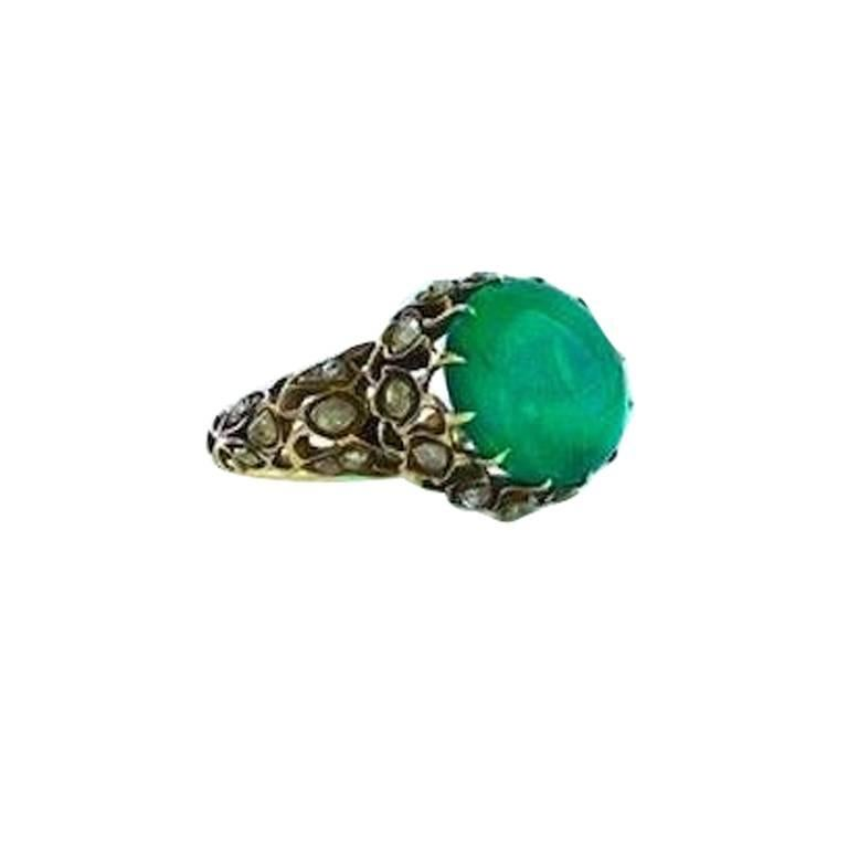 Antique Persian Emerald Diamond Gold Ring For Sale at 1stdibs