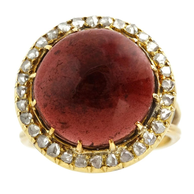 Antique Garnet and Diamond Set Gold Ring