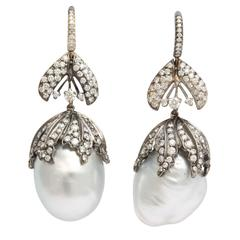 Baroque Pearl Diamond Bud Earrings