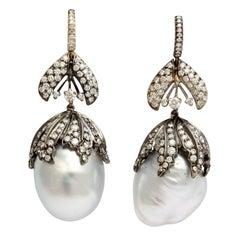 Baroque Pearl Diamond Bud Earrings
