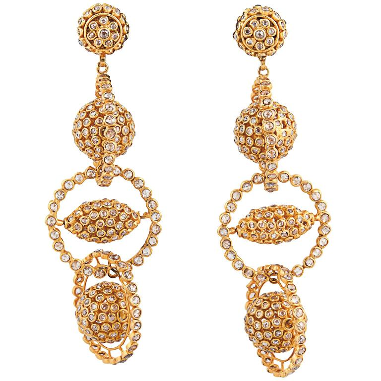Gold Diamond Mobile Earrings For Sale