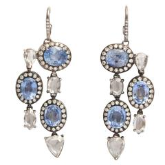 Sapphire Rose Cut Diamond Pendant Earrings