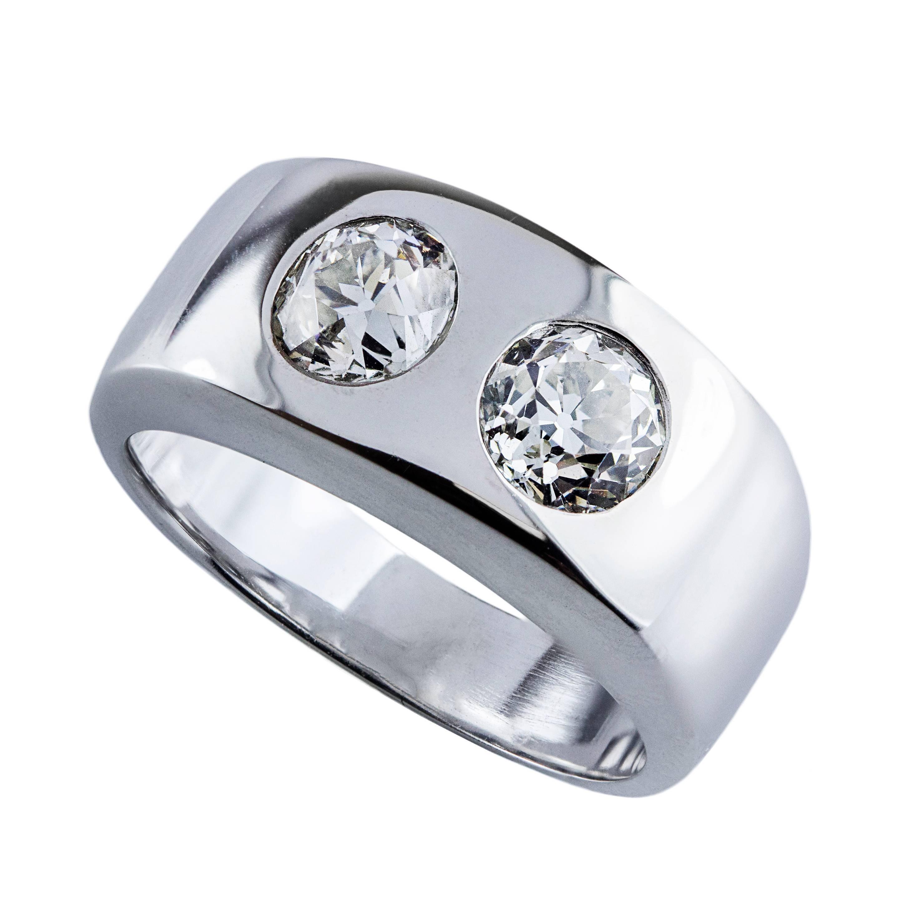 Old European Cut Twin Diamond Band Ring