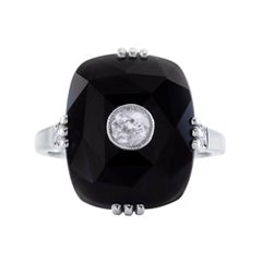Art Deco Onyx Old European Diamond Gold Ring