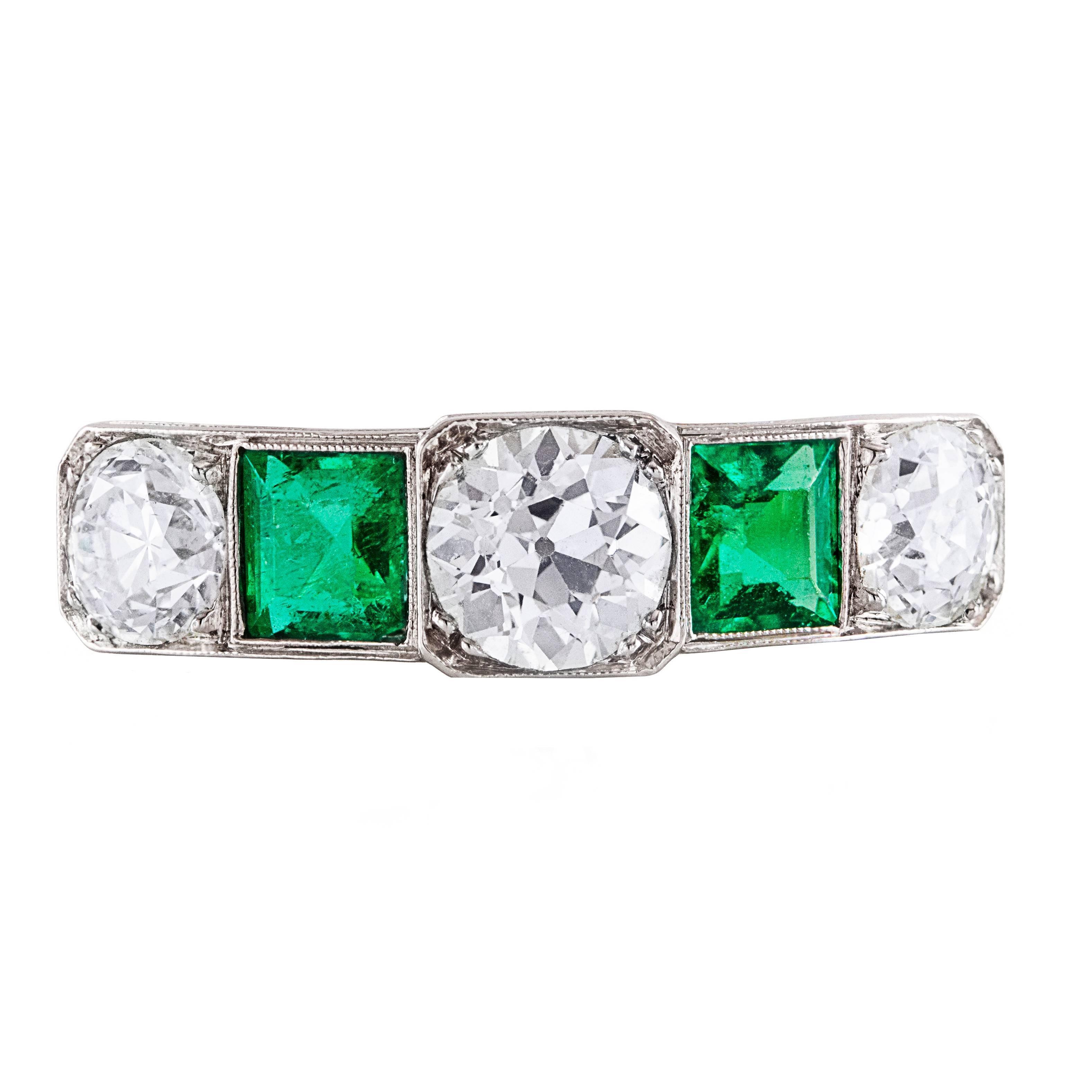 Art Deco Emerald Diamond Platinum Ring