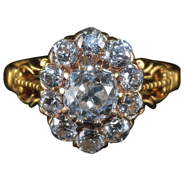 Antique Victorian Diamond Ring 2 Carat Diamond Cluster Ring, circa 1880