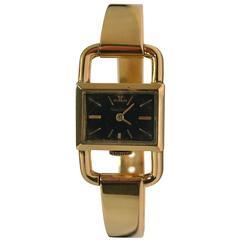 Jaeger-LeCoultre Hermes Etriers Yellow Gold Mechanical  Ladies Wristwatch c1960