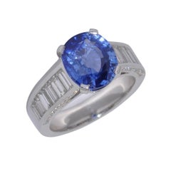 Sapphir Ceylon Baguette Diamonds Craftsman Ring