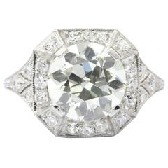 Art Deco 2.86 Carat Old European Diamond Platinum Engagement Ring circa 1920