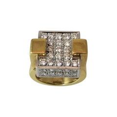 Dramatic 18 Karat Yellow Gold and Platinum Pave Diamond Square Design Ring