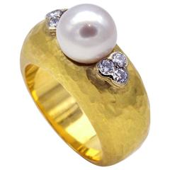 Diamond and Pearl Hammered Gold Cocktail Ring