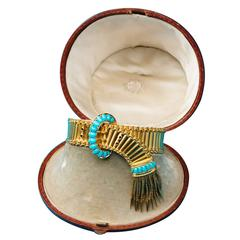 Antique English Victorian Turquoise Gold Buckle and Tassel Bracelet