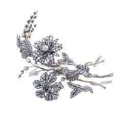Late 19th Century Diamond Pearl Flower Tiara
