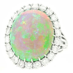 10 Carat Opal and Diamond Set Platinum Ring