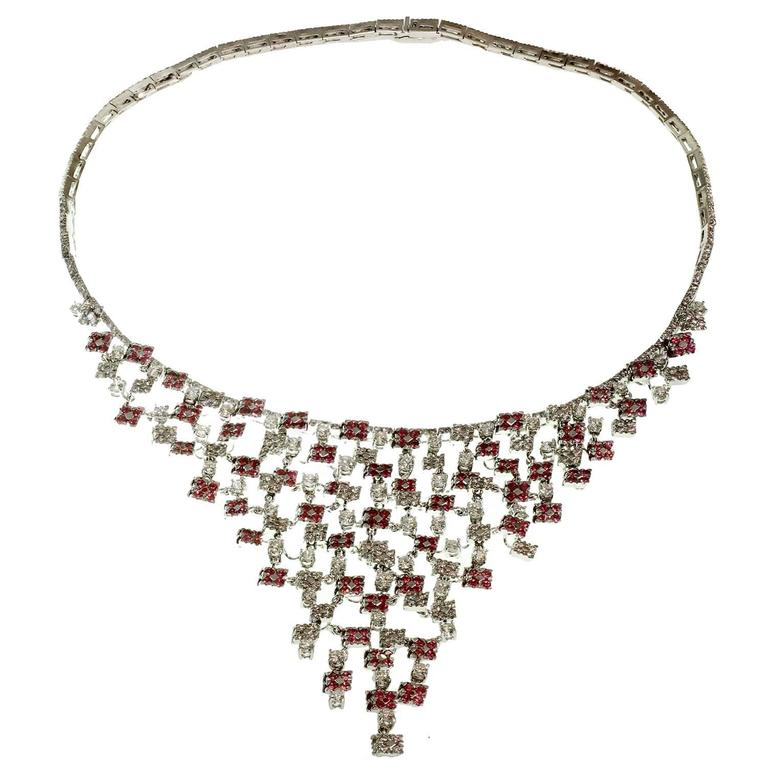 Staurino Fratelli Diamond Pink Sapphire White Gold Bib Necklace