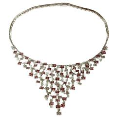 White Gold, 18k Diamond Pink Sapphire Bib Necklace.Made in Italy
