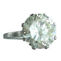 French Art Deco 6.23 Carat Round Diamond Platinum Solitaire