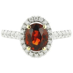 Natural Spessartite Garnet with 0.35 Carat Natural Diamond Engagement Ring