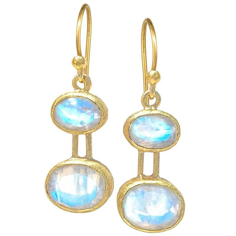 Petra Class Glowing Blue Moonstone One of a Kind Drop Earrings