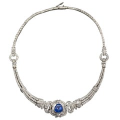 Art Deco Sapphire Diamond Platinum Necklace GIA Cert No Heat 15 Carat