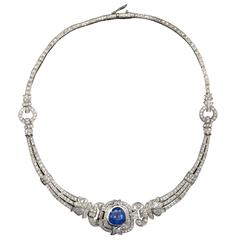 Art Deco Pear Shaped GIA Blue Sapphire Diamond Platinum Necklace