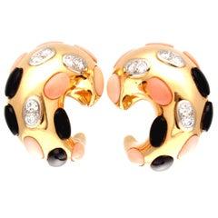 Coral Onyx Diamond Gold Earrings