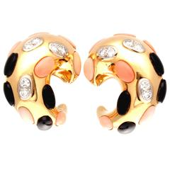 Coral Onyx Diamond Gold Earrings