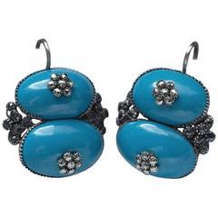 Queen Anne Blue Enamel and Pyrite Earrings