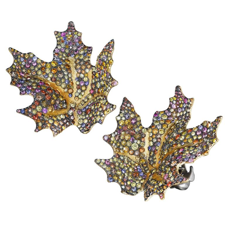 Naomi Sarna Sapphire Diamond Gold Maple Leaf Earrings