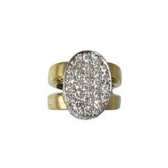 Wide Diamond Gold Oval Shape Split Shank Ring