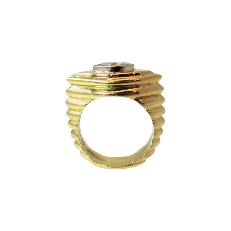 Contemporary 18 Karat Yellow Gold Bezel Set Marquise Diamond Ring