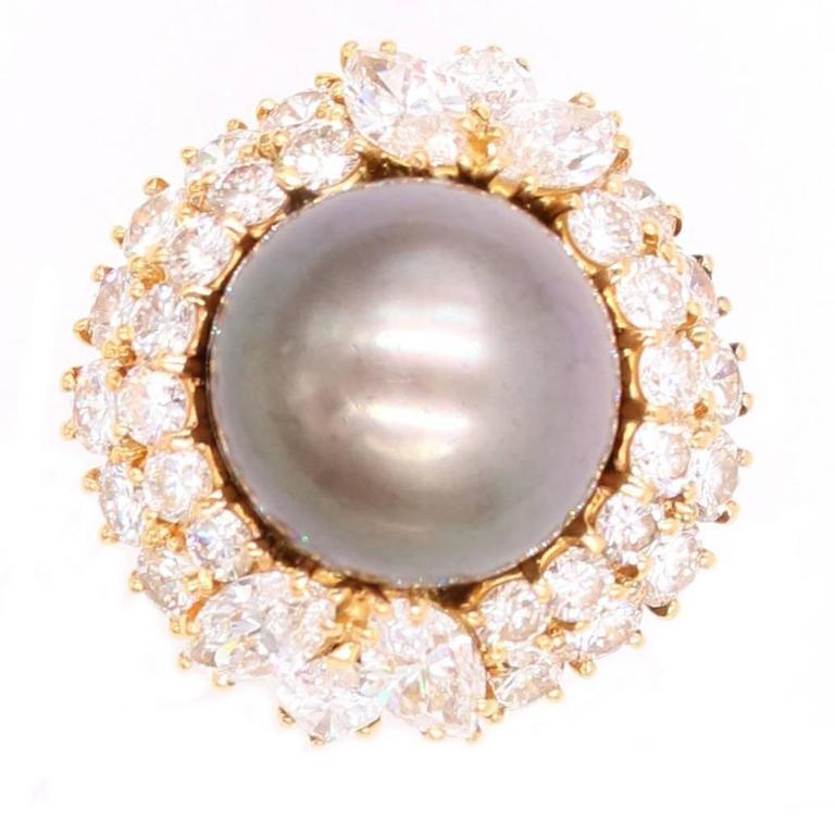 Harry Winston Tahitian Pearl and Diamond Ring 1