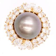 Harry Winston Tahitian Pearl and Diamond Ring