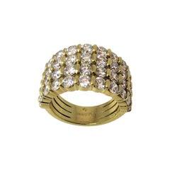 Gemveto Four Row Round Diamond Yellow Gold Ring
