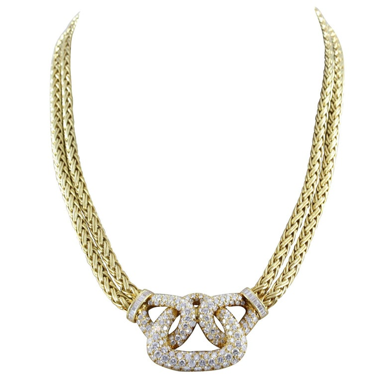 Diamond Gold Double Strand Necklace